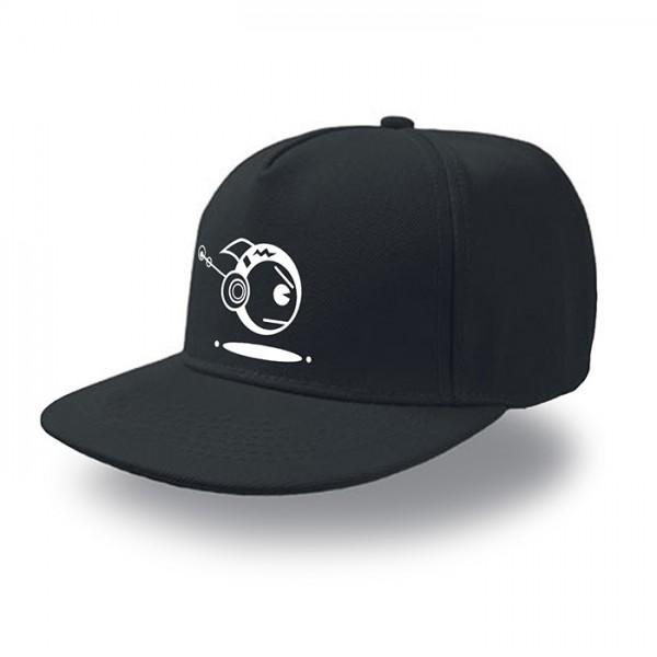 Schwarze Snap Cap TOKYOPOP Robofisch weiß