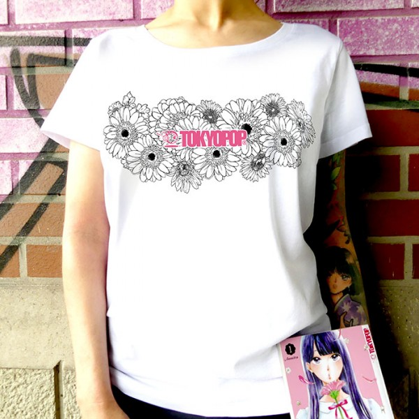 Weißes T-Shirt TOKYOPOP Logo Flowers