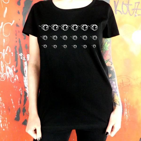 Schwarzes T-Shirt Robofisch 3er Reihe weiß