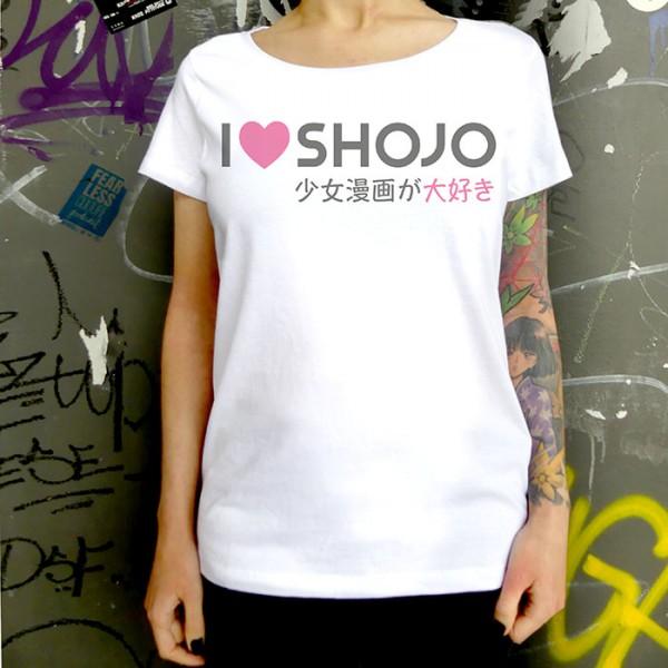 Weißes T-Shirt I LOVE SHOJO Logo