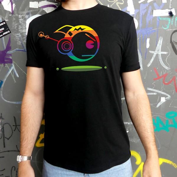 Schwarzes T-Shirt TOKYOPOP Robofisch Rainbow