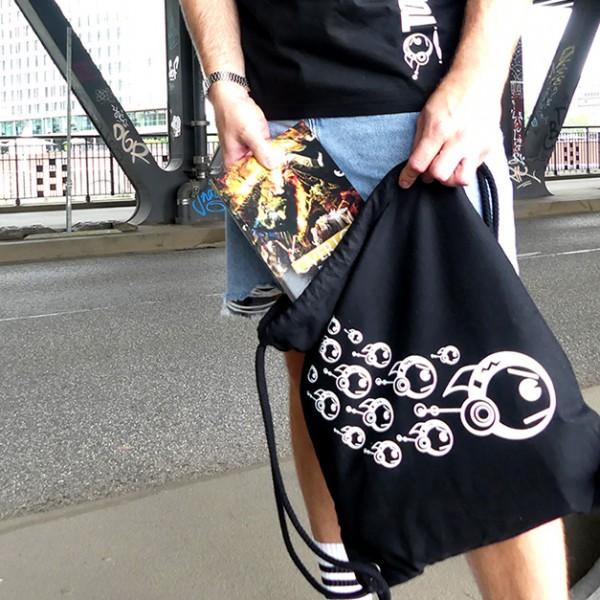 Schwarzer Gymbag TOKYOPOP Robofisch Schwarm weiß